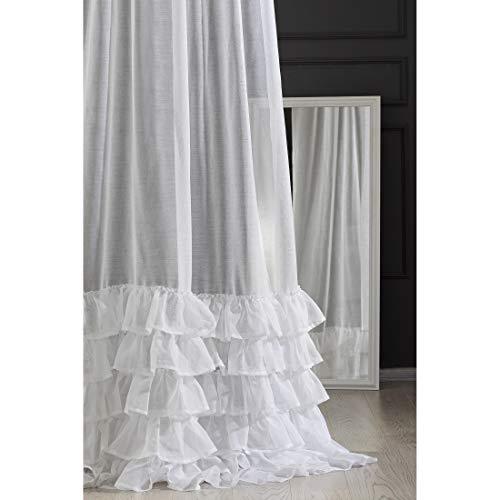 Eurofirany Cortina Lisa Volante, Color Blanco Transparente, Cinta fruncidora, 140 x 270 cm, Elegante, Glamour Dormitorio, salón, salón, salón, 140 x 250 cm