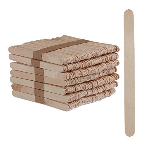 Relaxdays Eisstiele aus Holz, 500 Stück, EIS Holzstäbchen, Basteln, Backen, DIY EIS am Stiel, HxB: 11,5 x 1 cm, Natur