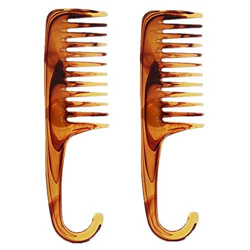 Lot de 2 peignes de douche larges dents larges pour cheveux longs, mouillés ou bouclés, améliorer la circulation sanguine