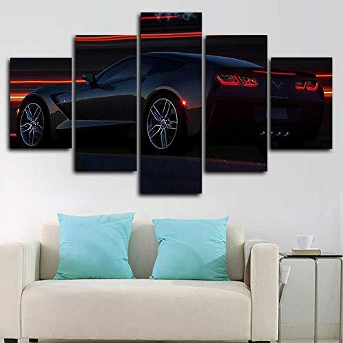 Cuadros Decoracion Salon Modernos Chevrol CorvettNight Car 5 Piezas Lienzo Grandes XXL Murales Pared Hogar Pasillo Decor Arte Pared Foto Innovador Regalo