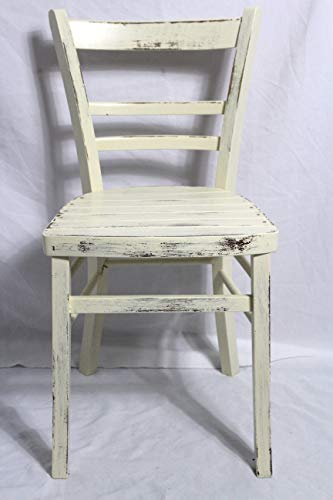 Shabby Stuhl alter Küchenstuhl/Holzstuhl/Stuhl/Bauernstuhl/Frankfurter Stuhl elfenbein weiß 40er Jahre Landhaus Vintage Shabby Chic Möbel