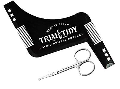 Harlington Group Beard Shaping Tool + Nose Hair Scissors Beard Styling Comb and Template Men's Facial Hair Shaper for Curve Cut, Edging, Neckline, Step Cut & Goatee Beard