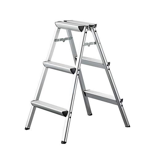 Leiter, Aluminium-Klappleiter Hocker, Haupt Beidseitige Widening Fotografie Ladder Stabilität und Sicherheit (Size : 3 Steps)