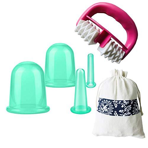 IAMXXYO 5Pcs Anti-Cellulite Cup Set Silicone Emboutissage Thérapie Visage Vide Emboutissage Corps Coupe Massage Rouleau pour Drainage Lymphatique Et Soins De Santé,Vert