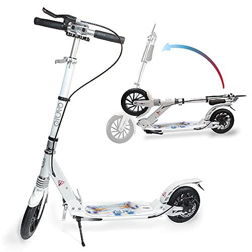 Monopattino per adulti con doppia sospensione, con 2 ruote, pieghevole e regolabile, per bambini e ragazzi, freno a mano e freno posteriore, cinghia per il trasporto (bianco)