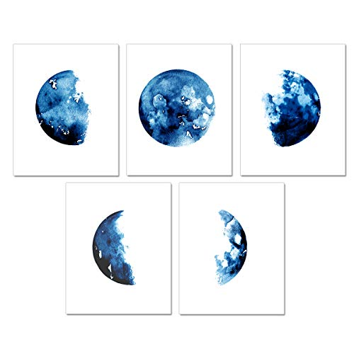 Watercolor Moon Phase Wall Art Prints - Blue Canvas Print Artworks Lunar Moon Wall Art Abstract Prints Poster for Office Dorm Living Room Bedroom Decoration Unframed Paintings Home Decor