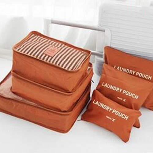 6 Pcs Travel Storage Bag Set For Clothes Tidy Organizer Wardrobe Suitcase Orange