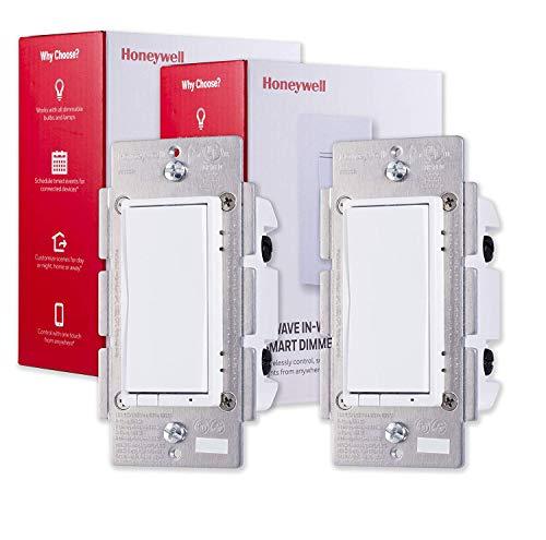 Honeywell UltraPro Z-Wave Plus Smart Light Dimmer Switch 2 pezzi, da parete bianco e mandorle | Ripetitore Range Extender | ZWave Hub Necessario - Compatibile Alexa e Google Assistant, 44947