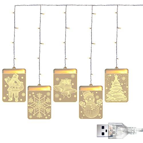 SOOTOP Weihnachtsvorhang Lichterkette Bunte Vorhang Dekorative Licht 3D Hängende Weihnachtsmann Schneeflocke Führte Licht Weihnachtsschmuck für zu Hause Weihnachtsdekoration