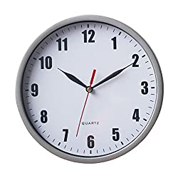 8 Silent Wall Clock Non-ticking Decor Digital Quartz Wall Clock Battery Operated Easy to Read Round Wall Clock(Silver)