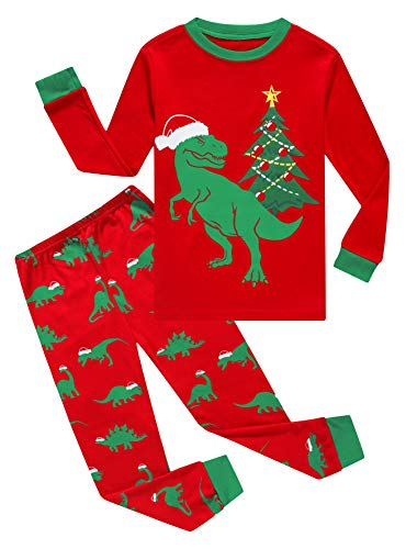 Christmas Dinosaur Baby Boys Long Sleeve Pajamas 100% Cotton Red Sleepwears Infant Size 12-18 Months