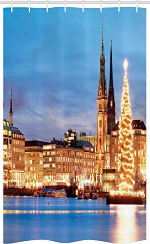 ABAKUHAUS Winter Douchegordijn, Hamburg Duitsland Old Town, voor Douchecabine Stoffen Badkamer Decoratie Set met Ophangringen, 120 x 180 cm, Blauw Oranje Bruin