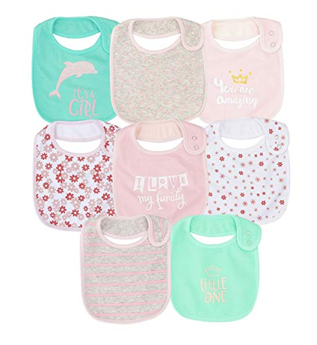 Cotton Waterproof Baby Girls' 8 Pack Bibs with Buttons for teething drooling eating