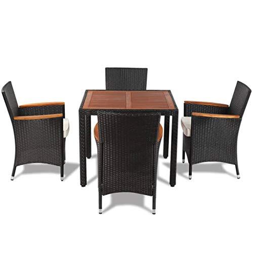 Festnight 5-delige Tuinset met kussens poly rattan Eettafel en stoelen Set Modern Kitchen Outdoor Table Set voor woonkamer/kantoormeubilair/tuin/buiten zwart