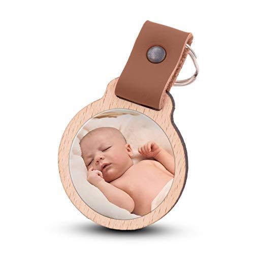 Wogenfels - Schlüsselanhänger selbst gestalten mit Fotodruck | Echtes Holz mit Lederband | kreative Geschenkidee Geschenk für Damen/Frauen (Hellbraun)