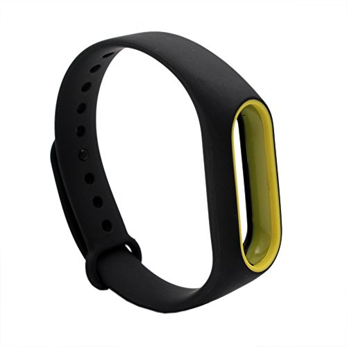 PINHEN Ersatzband Kompatible für Xiaomi Mi Band 2 Armband - Silikon Ersatz Fitness Armband und Uhrenarmband Sportarmband für Xiaomi MiBand 2 (Black&Yellow)