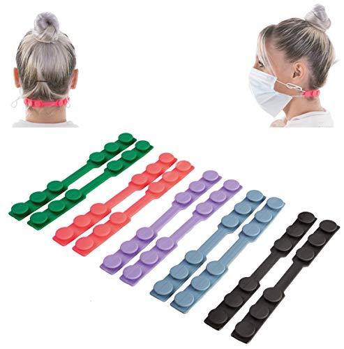 KNOCKY Maskenhalter, 10 Stück Maskenhaken Anti-rutsch Silikon Masken Ohrband Gummiband Verlängerungsriemen für Ohrschutz 3 Gang Einstellbare Haken Ohrenriemen für Erwachsene und Kinder (Farben)