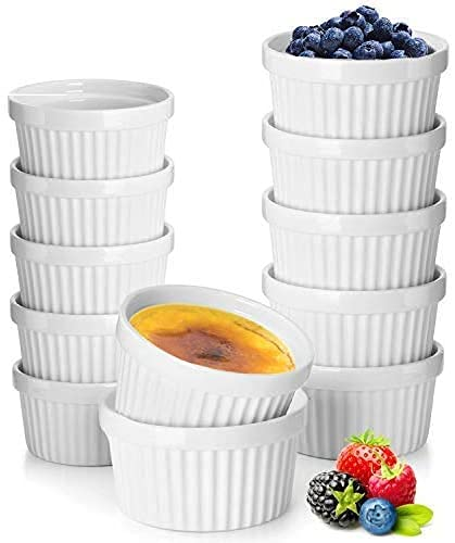 12 Pack Porcelain Souffle Dish Ramekins for Baking – 6 Ounce x 6, 8 Ounce x 6 - White Ramekins Bakeware Set Baking Cups for Creme Brulee Desserts Puddings Custard Ice Cream Lava Cake Snacks