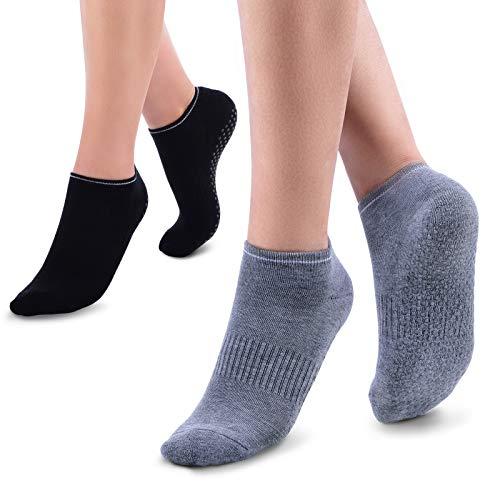 Momcozy Calcetines Yoga, 2 Pares de Calcetines Antideslizantes para Mujeres Embarazadas, Ideales para Pilates, Ballet, Danza, Zumba, Deportes en Casa (Negro y Gris)