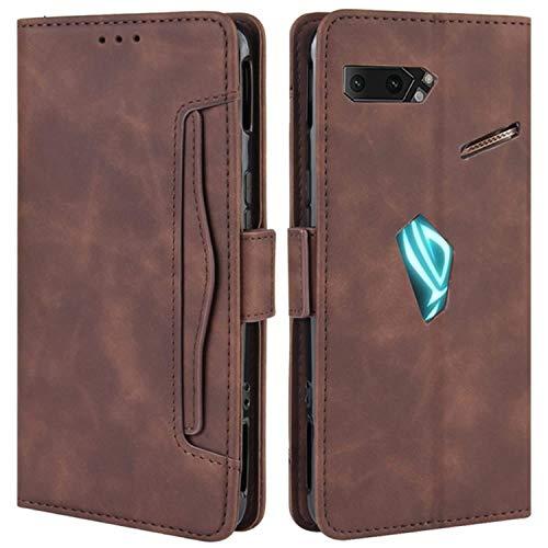 HualuBro Handyhülle für Asus ROG Phone 2 ZS660KL Hülle Leder, Flip Hülle Cover Stoßfest Klapphülle Handytasche Schutzhülle für Asus ROG Phone 2 II ZS660KL Tasche (Braun)
