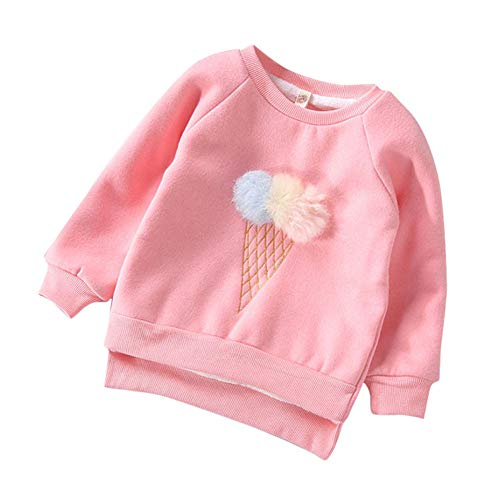 KONFA Teen Toddler Baby Girls Boys Winter Pullover Tops Clothes,Long Sleeve Pompom Cartoon Ice Cream Cone T-Shirt Blouse (Pink, 2-3 Years)
