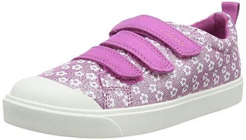 Clarks City Vibe K, Scarpe da Ginnastica Basse Bambino, Rosa (Pink Floral Pink Floral), 28 EU