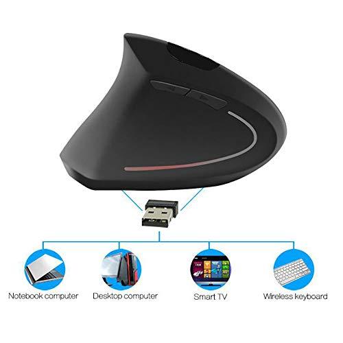 Vertikale Linkshänder schnurlose Funk Computermaus, 2,4 GHz 6-Key Wireless Mouse für Lefty, Vier-Wege-Scrollrad ist geeignet für Office Business