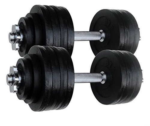 Unipack Dumbbells 2 X 52.5 LBS Adjustable Cast Iron Set. Total 105 Lbs