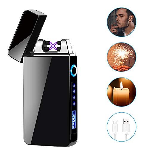Accendino Elettrico, laxikoo Accendino USB Ricaricabile Accendino al Plasma Senza Fiamma Accendino Dual Arco con Indicatore della Batteria per Sigarette Candele Cucina Barbecue Campeggio, con Cavo USB