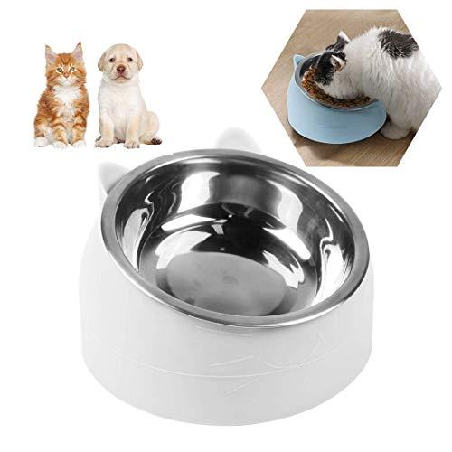 O-Kinee Cuenco del Gato, Tazones para Gatos Antivomitos, Comedero Gato 15° Inclinable Tazón, Cuenco de Alimentación para Gatos, Comederos Perros Gatos, Acero Inoxidable, Tazón para Mascotas 200 ML