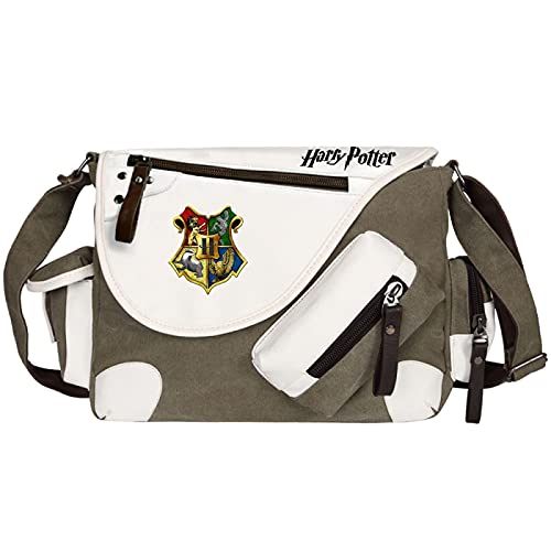 QLma Bolso de mensajero de lona lindo unisex bolso de hombro de viaje de ocio juvenil bolso de escuela Hogwarts Green