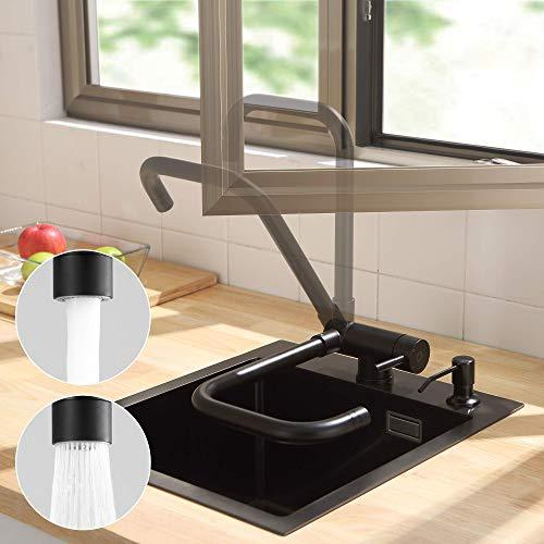 CECIPA Grifo de cocina con ventana frontal, 360°, plegable, giratorio, color negro, grifo de alta presión, grifo de acero inoxidable, grifo para debajo de la ventana, con dos métodos de salida