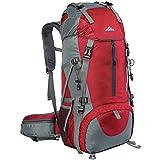Loowoko 50L Impermeable Senderismo Mochila Montañismo Daypack Trekking Camping Deporte con Cubierta Lluvia Al Aire Libre para Viaje Acampar