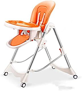 Beautiful Baby Dining Chair Child High Chair Multifunctional Portable Folding Seat Kids Dinette, Orange (Color : WITHOUT W...
