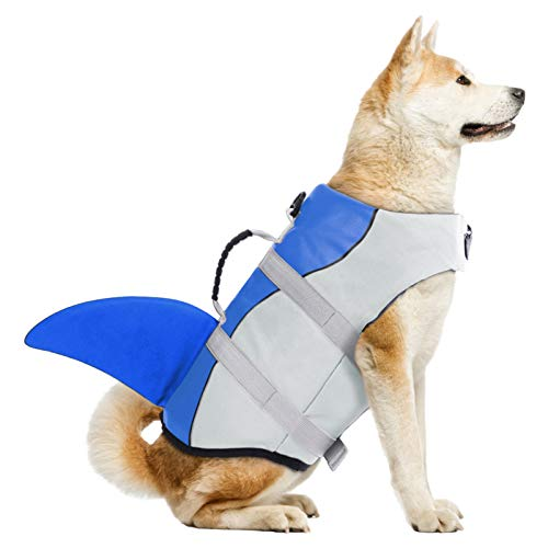 Dog Life Jackets, Ripstop Pet Floatation Life Vest for Small, Middle, Large Size Dogs, Dog Lifesaver Preserver Swimsuit for Water Safety at The Pool, Beach, Boating (Medium, Blue Shark)