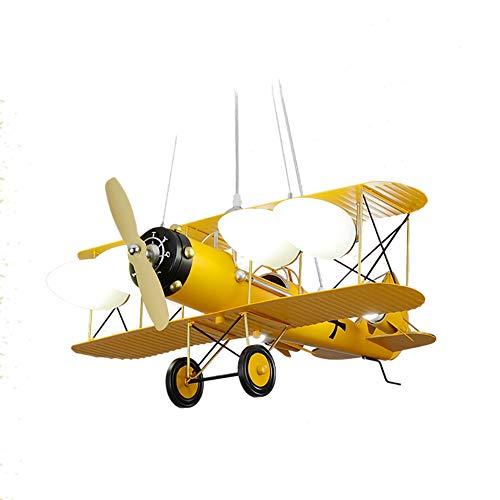 chen Kinderzimmer Schlafzimmerleuchten Retro-Kronleuchter Kreative Kronleuchter Junge Flugzeug Lichter Eisen E27 Lampe Hafen (Farbe : Gelb)