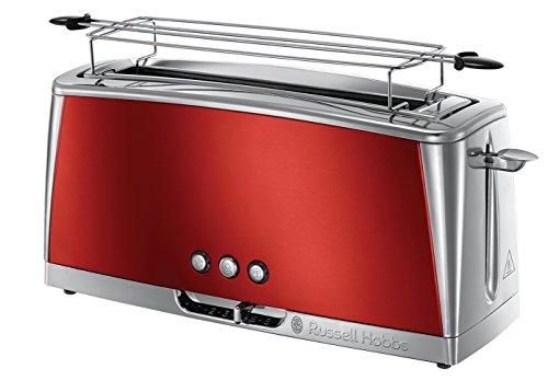 Russell Hobbs Langschlitz Toaster Luna rot, extra breite 1 Langschlitzkammer, Brötchenaufsatz, 6 einstellbare Bräunungsstufen + Auftau- & Aufwärmfunktion, Schnell-Toast-Technologie, 1420W, 23250-56