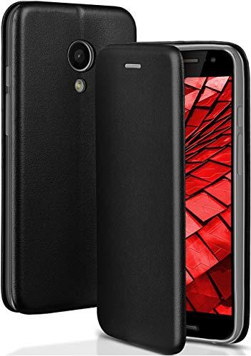 OneFlow® Premium Booklet mit unsichtbarem Magnetverschluss + Aufstellfunktion kompatibel mit Motorola Moto G2 | Exklusive Lederoptik, Schwarz
