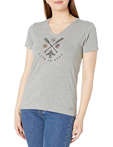 Life Is Good T-Shirt à col en V pour Femme Motif Fleurs Sauvages Gris chiné Taille XXXL