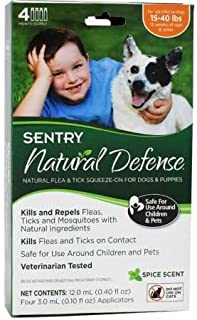 SENTRY Natural Defense Flea and Tick Topical for Dogs, 15-40 lbs, 4 Month Supply