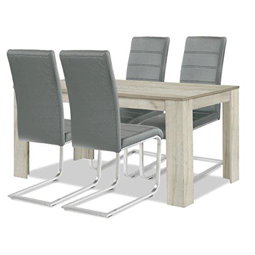 agionda® Esstisch Stuhlset : 1 x Esstisch Toledo 140 Sandeiche 4 Freischwinger JAN PIET Kunstleder grau