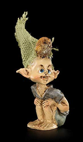 Pixie Fantasy Kobold Figur - Eule auf dem Kopf | Dekofigur, Handbemalt