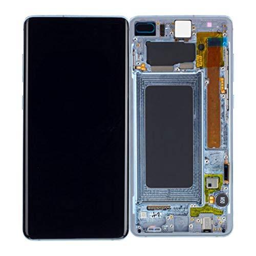 Handyteile24 ✅ Super Amoled Display Bildschirm Rahmen für Samsung Galaxy S10 Plus G975F in Prism Blue GH82-18849C