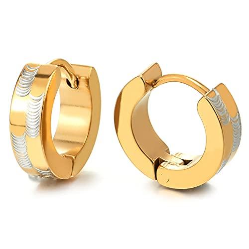 2 Plata Oro Pendientes del Aro con Patrones Láser, Pendientes para Hombres Mujer, Acero Inoxidable