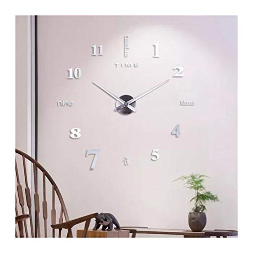 Without DIY Reloj de Pared sin Marco Diseño Moderno Pegatina de Pared silenciosa Reloj Acrílico Espejo Autoadhesivo Relojes de Pared...