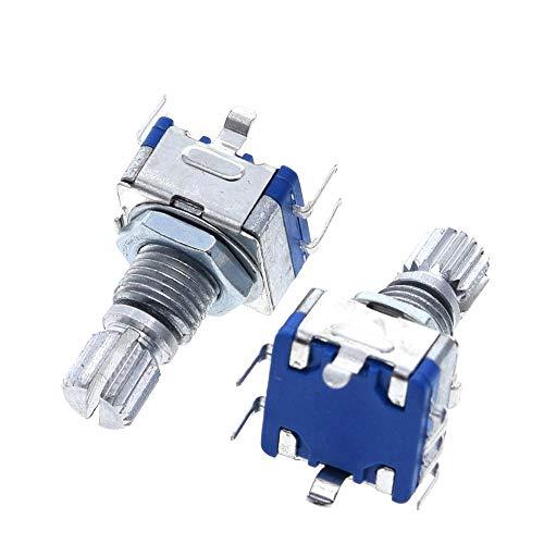 YI-WAN Piezas de adaptación 2 Piezas de Mango Ciruelo 20mm codificador rotatorio de codificación Interruptor / CE11 / potenciómetro Digital con Interruptor de 5 Pin Accesorios