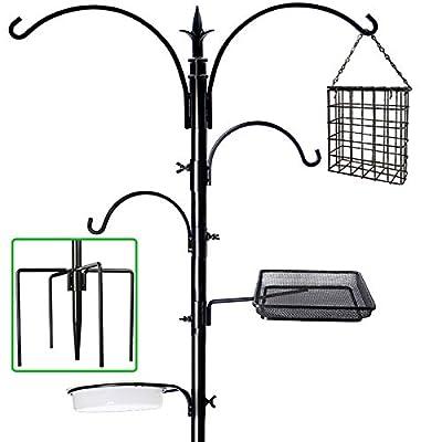 """yosager 91"""" x 23"""" Premium Bird Feeding Station Kit, Bird Feeder Pole Wild Bird Feeder Hanging Kit with Metal Suet Feeder Bird Bath for Bird Watching Birdfeeder Planter Hanger"""