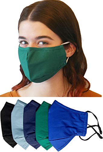 Cloth face masks washable reusable, breathable cotton face mask for women, men, 3 layer cotton face mask with nose wire, filter pocket, adjustable ear loops, fits small adult faces or teenagers 5-Pack