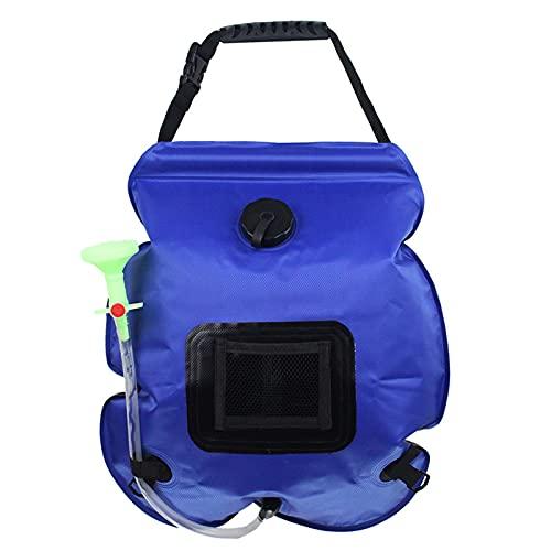 LUWEI Bolsa de Ducha Solar de 20L Camping Portátil Calentada Camping Duchas Caliente Agua Caliente, Bolsa de baño de excursión al Aire Libre Liviana Plegable Plegable más 5L Bolsa de suplemento,Azul