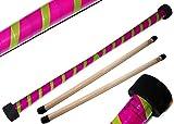 Bastón del Diable Set Twist (morado/verde) + mango de silicona de palos de madera. Bastones de carretera, bastones de malla.